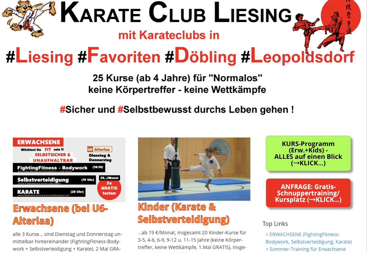Karateclub Liesing Werbung